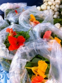 Salad mix with edible Nasturtium flowers